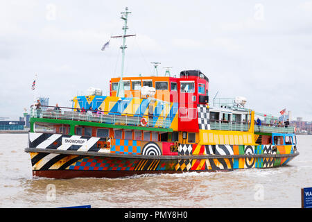 Liverpool Merseyside iconic Mersey Ferry boat ship Snowdrop flag red ensign colourful River Mersey water passengers special liver by Peter Blake - Stock Image