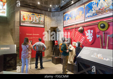 A gallery inside the National Wallace Monument on Abbey Craig, Stirling in Scotland - Stock Image