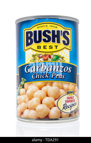 Winneconne, WI - 11 May 2019 : A can of Bushs Best Garbanzos chick peas on an isolated background - Stock Image