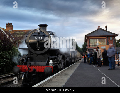 Ivatt (Mucky Duck) class 4MT number 43106 Steam Locomotive standing at Bishops Lydeard at on the West Somerset Railway in 2012. - Stock Image