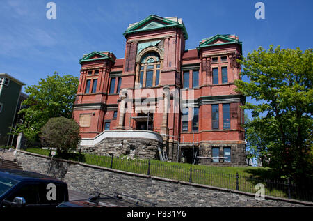 June 23, 2018- St. Johns, Newfoundland: The Masonic Temple building, home to the Spirit of Newfoundland - Stock Image