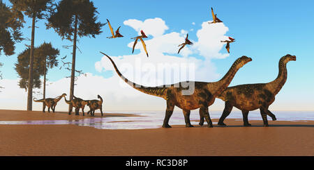 Antarctosaurus Dinosaur Seashore A flock of Thalassodromeus reptiles fly over a herd of Antarctosaurus dinosaurs on their way to search for fish prey. - Stock Image