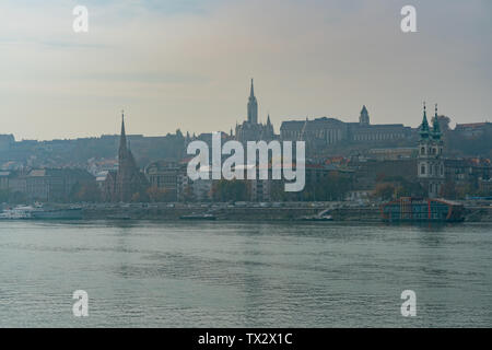 Saint Anne Church, Church of Stigmatisation of Saint Francis of Assisi and cityscape at Budapest, Hungary - Stock Image