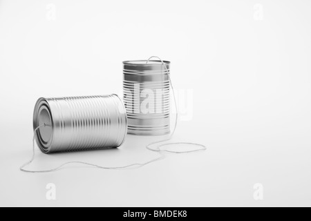 Tin Can Telephone - Stock Image