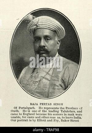 Vintage photograph of Raja Pertab Singh of Pertabgarh, 1902 - Stock Image