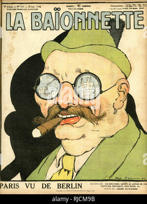 Front cover design for La Baionnette, Paris seen from Berlin. Showing a stereotypical German man with a ruined Paris (wishful thinking) reflected in his spectacles. - Stock Image