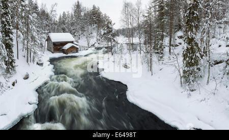 Myllykoski rapids and old mill in Juuma, Oulankajoki National Park, Kuusamo, Finland - Stock Image