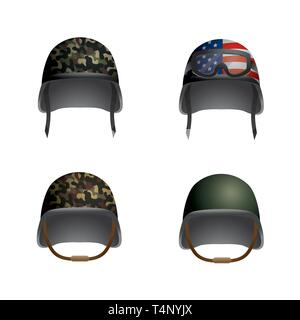 set military helmet with glasses and usa flag vector illustration - Stock Image