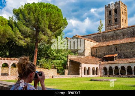 France, Pyrenees Orientales, Codalet, Abbey of Saint Michel de Cuxa, Regional Natural Park of the Catalan Pyrenees - Stock Image