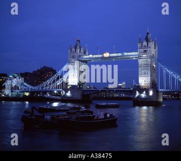 Tower Bridge and River Thames London UK at night - Stock Image
