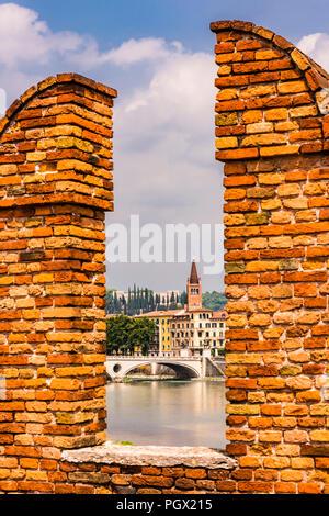 View of Santa Anastasia from the Ponte Castelvecchio in Verona, Italy - Stock Image