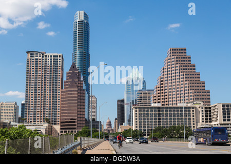 Traffic crosses S Congress Avenue bridge with Austin skyline in background Texas USA - Stock Image