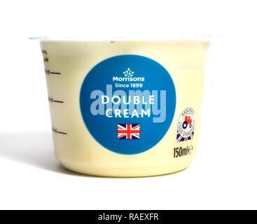 Morrisons Double Cream 150ml tub - Stock Image