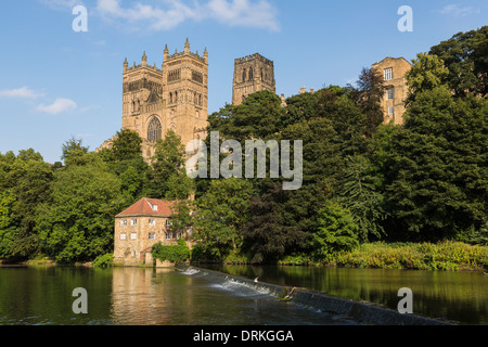 Durham Castle and River Wear, England - Stock Image