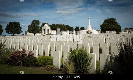 Looking across Tyne Cot Memorial and Cemetery near Ypres, Belgium for the fallen of WWI - Stock Image