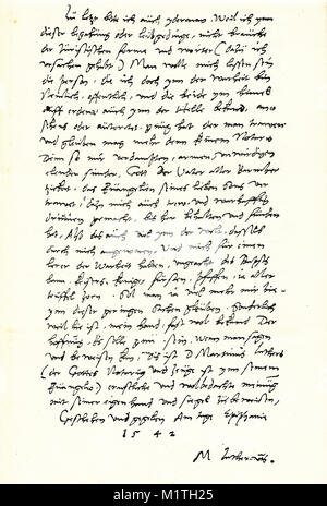 Facsimile of  Martin Luther's will, which was signed by Melancthon, Cruciger and Bugenhagen (see separate image). - Stock Image