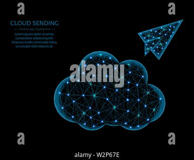 Cloud low poly model, paper airplane in polygonal style, cloud sending wireframe vector illustration made from points and lines on a black background - Stock Image