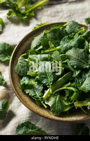 Raw Green Organic Baby Kale in a Bowl - Stock Image