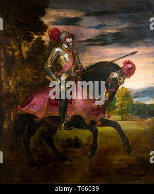 Titian: Equestrian Portrait of Charles V (1500-1558), painting, 1548 - Stock Image
