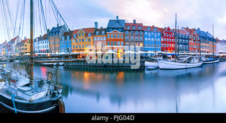 Panorama of Nyhavn in Copenhagen, Denmark. - Stock Image
