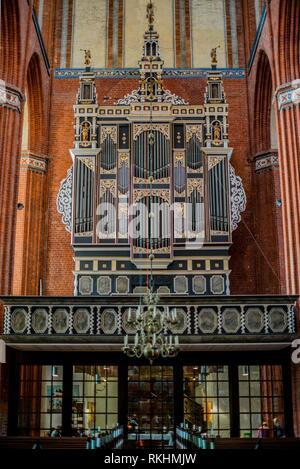Organ of the church St. Nikolai, builder Andreas Hagelstein, Wismar, Mecklenburg-Western Pomerania, Germany - Stock Image