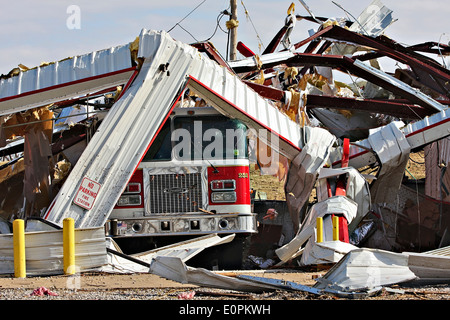 Fire Station and Fire Truck Destroyed by Tornado - Stock Image