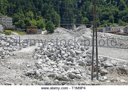 Mudslide rubble repair, Bregaglia, Bondo, Graubuenden, Switzerland - Stock Image