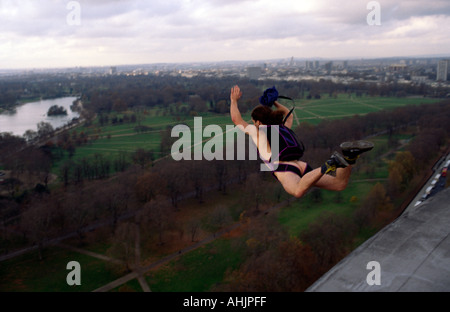 Rupert UK Naked BASE 1 BASE Jumping naked off Hilton Hotel Hyde Park London Great Britain - Stock Image