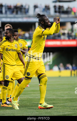 Mapfre stadium, USA. 23rd April, 2016. .Columbus Crew SC forward Kei Kamara (23) celebrates his penalty kick goal - Stock Image