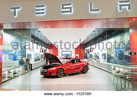 Tesla Motors Electric Car Automobile on display at Scottsdale-Fashion Square Mall in Arizona - Stock Image