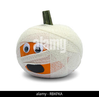 Pumpkin Zombie With Bandage Isolated on White Background. - Stock Image