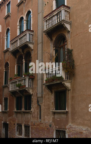 Balcony in Venice Overlooking canal - Stock Image