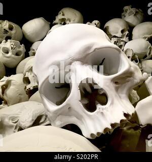 Art installation of human skulls piled up - Stock Image