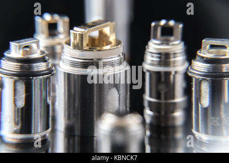 Close up on vaporizer coils - Stock Image