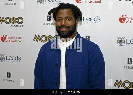 Sampha, British singer, songwriter and producer, on the red carpet at the 2017 MOBO Awards. He released his debut album Process earlier in the same year. - Stock Image