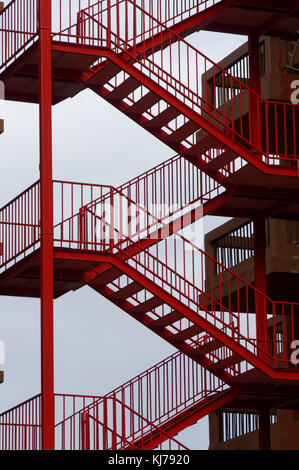 fire escape escapes steel steps ladder ladders external staircase staircases - Stock Image