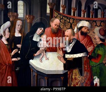 Presentazione al Tempio - Presentation at the Temple by Flemish painter (Master of the Stories of St. Joseph or Maestro de Monteoliveto) Flemish, Belgian, Belgium - Stock Image