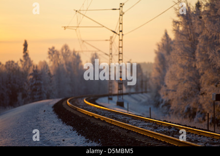 Railroad rails at evening light , Finland - Stock Image