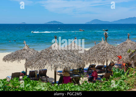 Sea view from the shore of An Bang beach, in Central Vietnam. The coastal town is situated near the UNESCO protected town of Hoi An. - Stock Image