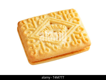 Custard Cream Biscuit, Cut Out - Stock Image