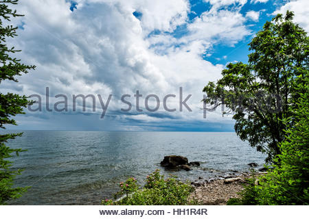 View from deck of cabin by north shore of Lake Superior, Minnesota - Stock Image