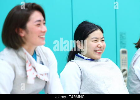 the JISS, Tokyo, Japan. 19th Apr, 2019. (L-R) Miho Kurachi, Karin Miyawaki (JPN), APRIL 19, 2019 - Fencing : Japan National Team Training Session at the JISS, Tokyo, Japan. Credit: Naoki Nishimura/AFLO SPORT/Alamy Live News - Stock Image