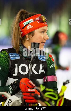 Sophia Schneider. The German Team Challenge takes place during the JOKA Biathlon WTC auf Schalke featuring young German biathlethes. - Stock Image