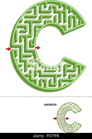 Learning alphabet activity - letter C three-dimensional maze. Use it as is or add fun cartoon characters. Answer included. - Stock Image