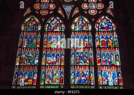 Stained glass windows of the Cathedrale Notre-Dame at Strasbourg, Alsace, France - Stock Image