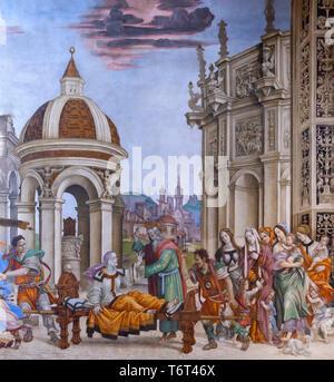 St John the Evangelist Resuscitating Drusiana, Filippino Lippi, 1502, Filippo Strozzi Chapel, Basilica di Santa Maria Novella, Church of Santa Maria N - Stock Image