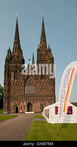Lichfield Cathedral with banners ready for the 2013 Lichfield Festival - Stock Image