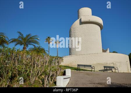 Watch Tower. La Batería Park. Torremolinos, Málaga, Spain. - Stock Image
