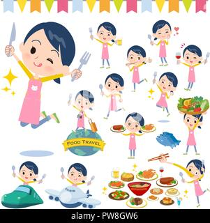 A set of Childminder women on food events.There are actions that have a fork and a spoon and are having fun.It's vector art so it's easy to edit. - Stock Image