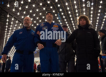 NASA astronaut Randy Bresnik, center, arrives at the Karaganda Airport in Kazakhstan airport after he, Roscosmos - Stock Image